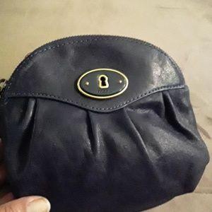 Dark blue fossil coin purse